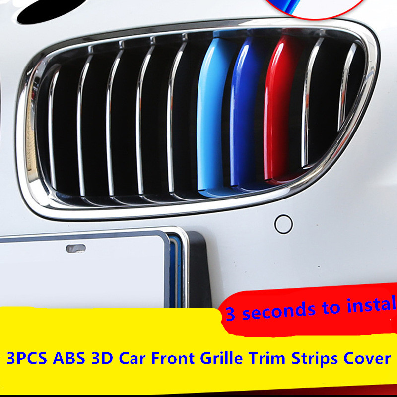ABS M Front <font><b>Grill</b></font> Grille Bumper Cover Trim Decoration Strips Sticker For BMW 3 5 Series GT F10 G30 <font><b>F30</b></font> X3 X5 X6 X1 2016 2017 image