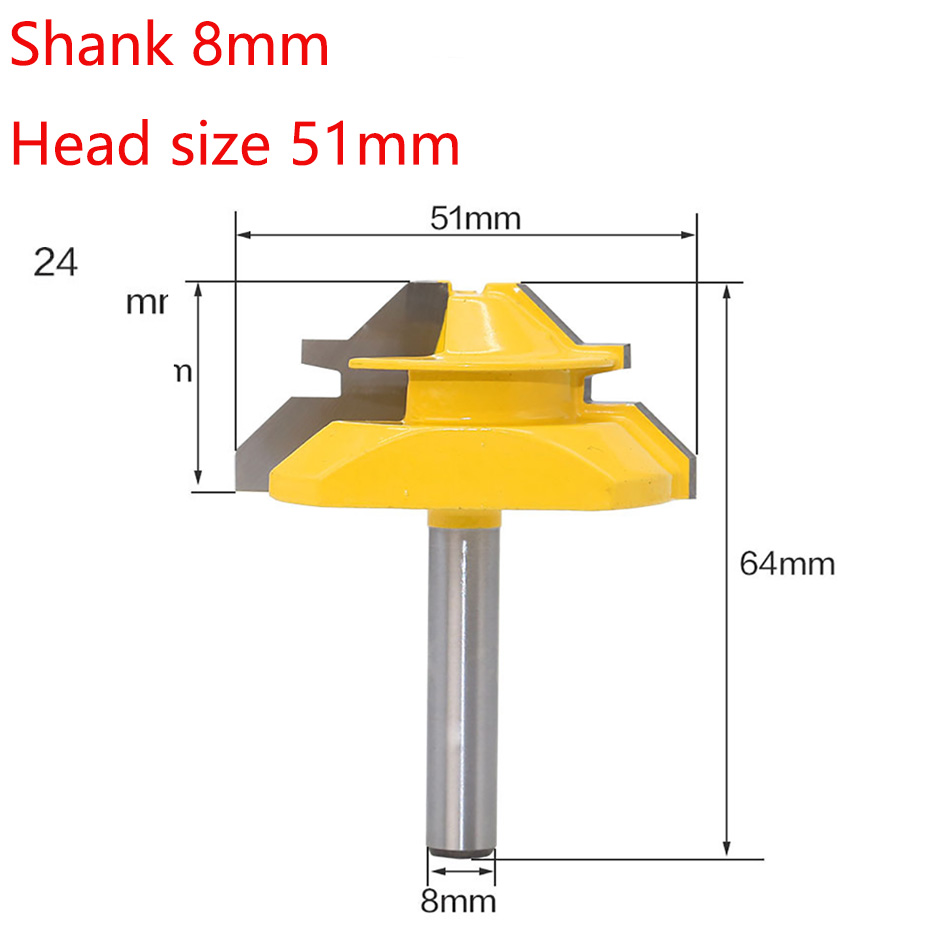 <font><b>8mm</b></font> Shank 45 Degree Milling <font><b>Cutter</b></font> Router Bit <font><b>8mm</b></font> <font><b>Wood</b></font> <font><b>Cutter</b></font> Carbide Shank Mill Woodworking Trimming Engraving Carving Cutting image