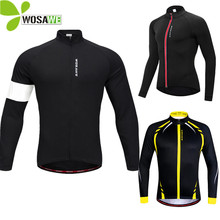 WOSAWE Men Fleece Thermal Thin Cycling Jackets Windproof Bike Jerseys Bicycle Coats Clothing Long Sleeve Winter Autumn Sportwear