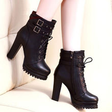 Liren 2019 Winter Women Fashion Sexy Ankle Plush Boots Cross-tied Zip Med High Square Heels Round Toe Comfortable Shoes