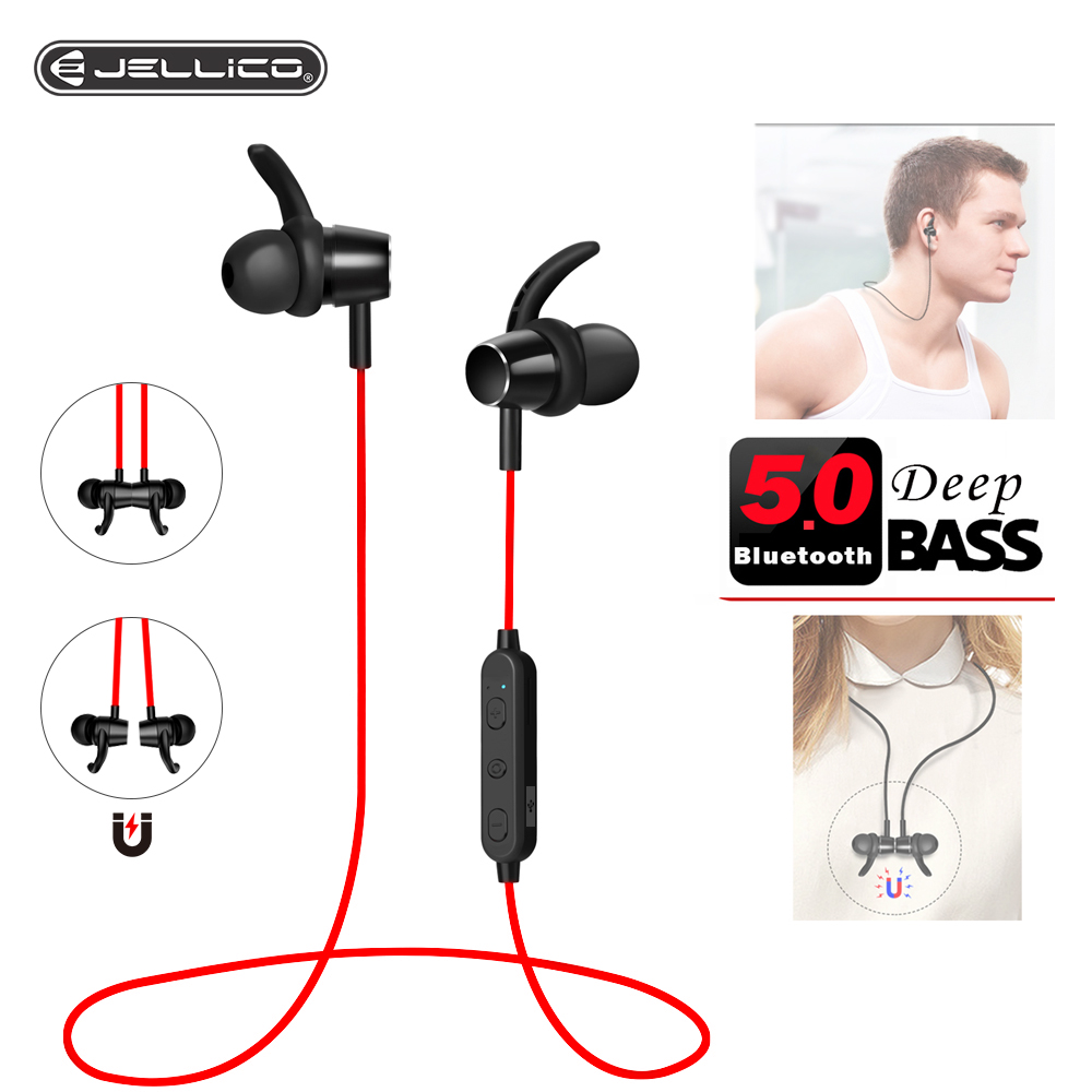 Jellico Earphone Bluetooth 5.0 Wireless Headset Magnetic Neckband Earphones Handsfree Sport Stereo Earpieces With Noise Mic