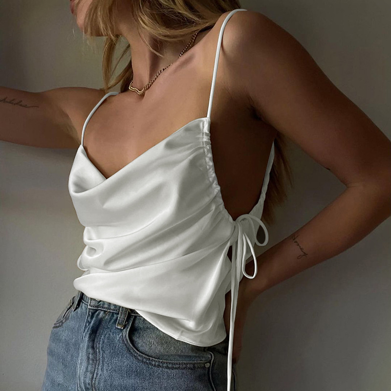 Summer new style y2k satin drawstring sling Fashion personality temperament all-match short-sleeved sexy female top