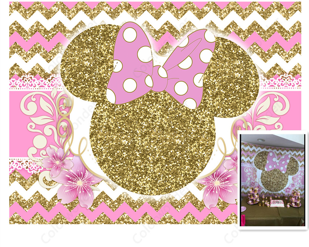 Minnie Pink and Gold Birthday Banner Party Backdrop