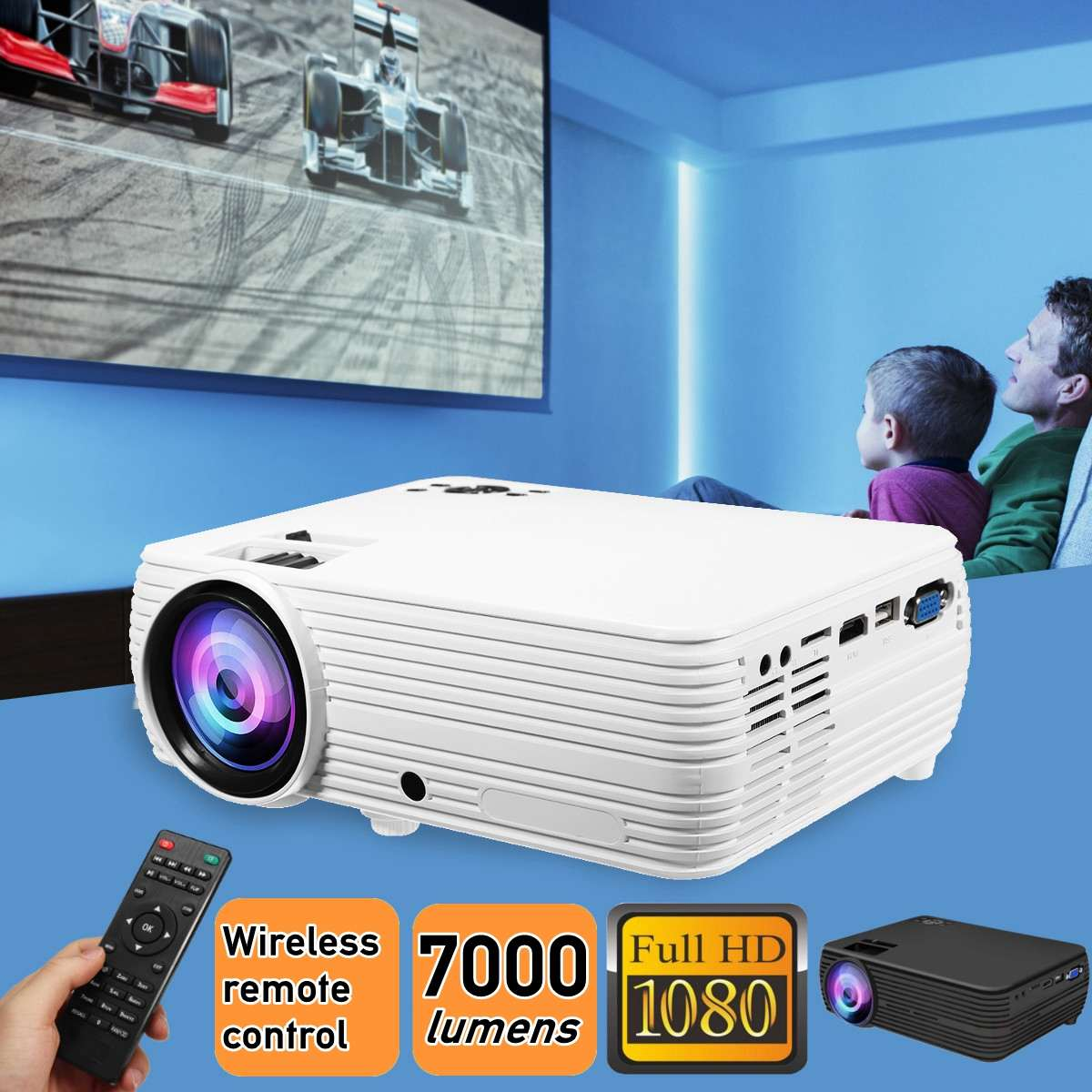 Human - TheaterMax™ X5 LCD Projector 7000 Lumens Support 1080P HD Multimedia Home Cinema Smart Home Theater