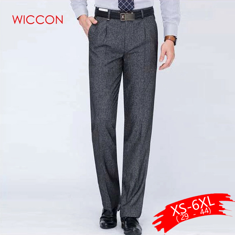 Men's Slim Fit Flat-Front Suit Zipper Fly Pant Formal Wedding Business Straight Male Trousers Light Grey Thin Office Dress Pants