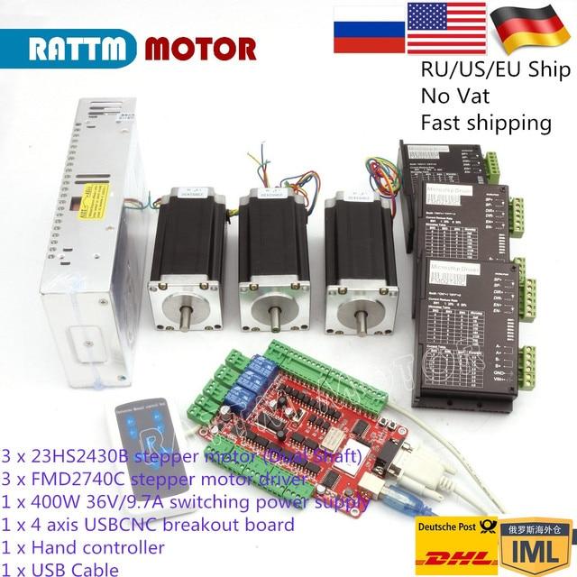 3 Axis CNC controller Nema 23 Stepper Motor kit (Dual Shaft) 112mm & FMD2740C Motor Driver &400W DC power supply& USB CNC Board