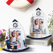 цена 5inch Wooden Family Photo Frame Mediterranean ocean sea Style Rudder Ship Form Sway Picture Frame Art Home Decoration онлайн в 2017 году