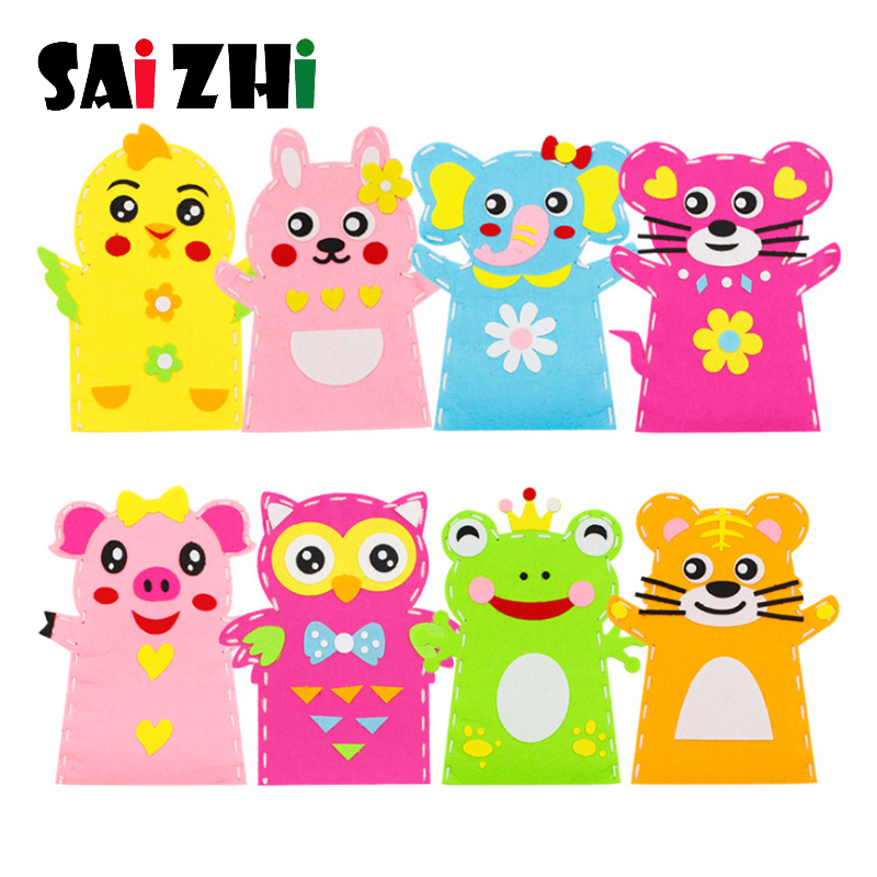 Saizhi 3D Crafts Handmade Kids Child DIY Creative Activity Top Accessories Hand Puppet Non-Woven Cloth Animal DIY Sewing Toys