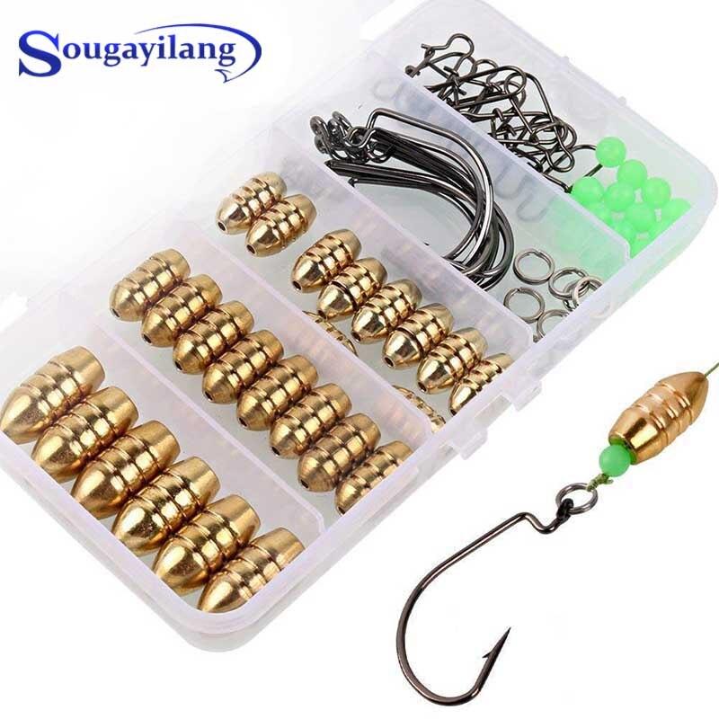 Sougayilang рыболовный крючок ящик для снастей с Техасским офсетным