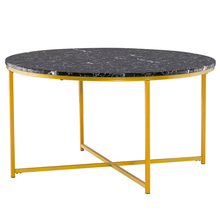 [90 x 90 x 48.5]cm Marble Simple 90 Round Coffee Table Side Table Black