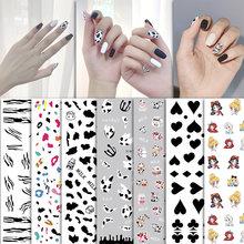 Мультяшный дизайн ногтей наклейки корова покер граффити самоклеящаяся
