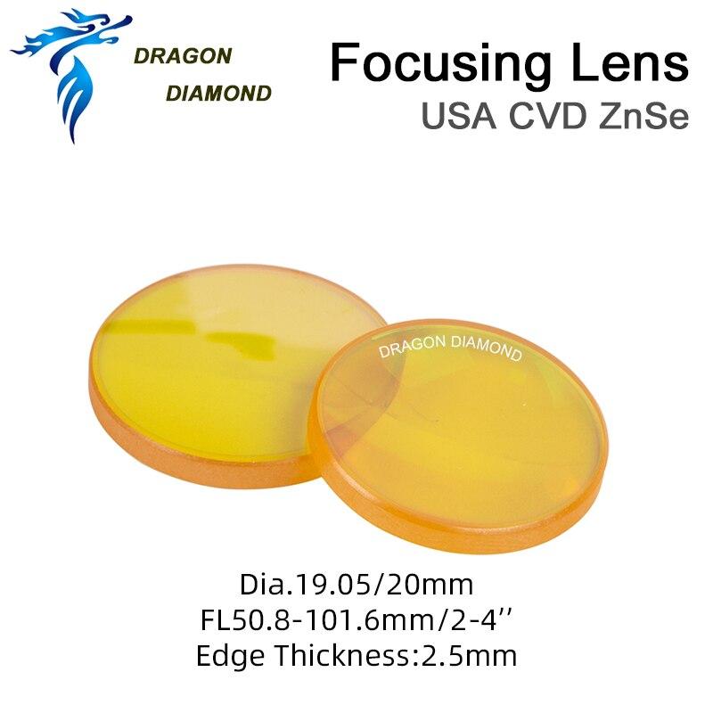DRAGON DIAMOND II-VI ZnSe Focus Lens Dia 20mm FL 50 8 63 5mm 2 5mm For CO2 Laser Engraving Cutting Machine High Powerful