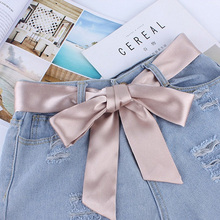 Women Fashion Wide Waist Fabric Belts Ladies Silk Scarf Solid Ribbon Knot Rope For Dresses Ceinture Femme