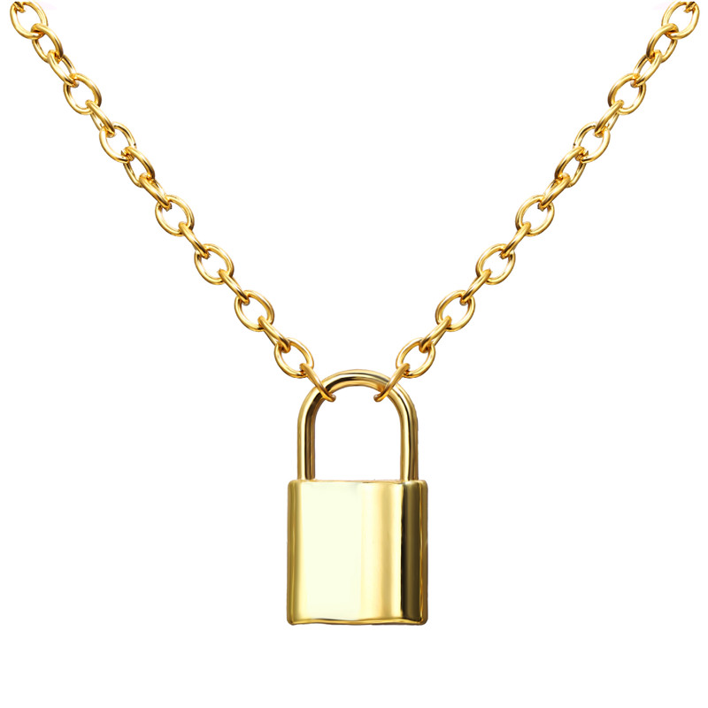 H535abbf456bf45dc9c7b321107bbad39n - Punk Chain Golden/Silver Color With Lock Necklace For Women Men Padlock Pendant Necklace Statement Gothic Fashion Jewelry