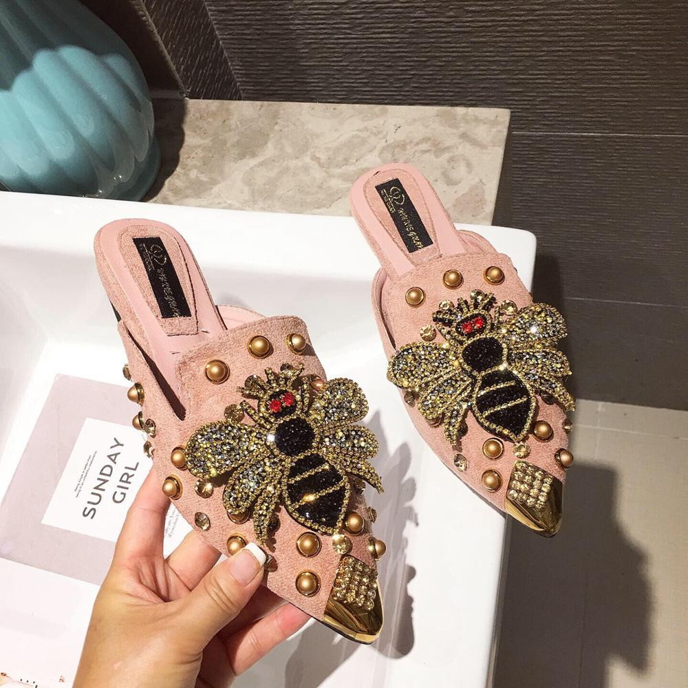 Pointed Rhinestone Rivet Women 39 s Shallow Slippers Casual Slip On Low Heel Mules Loafer Flat Slides Sandals Crystal Beach Shoes in Slippers from Shoes