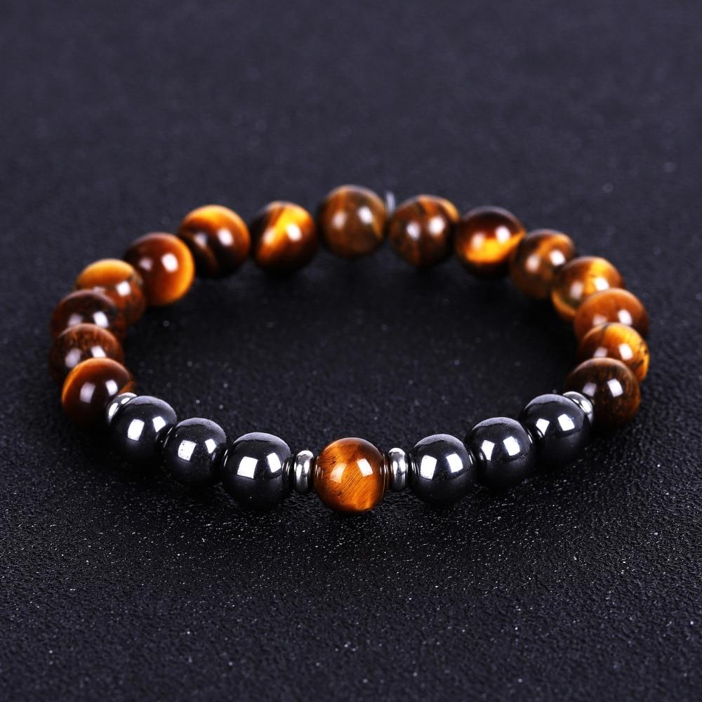 Tiger's Eye Bracelets for Men Women Lucky Hematite Beads Bracelet Natural Stone Bracelets & Bangles Jewelry Gift Pulsera Hombre(China)