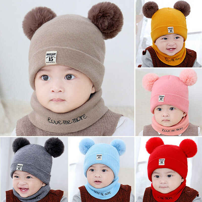 Goocheer Baby hat Kids Winter Warm Knitted Hat Child Skullies Beanies Circle Scarf with Thicken Fleece Lining for Boys Girls