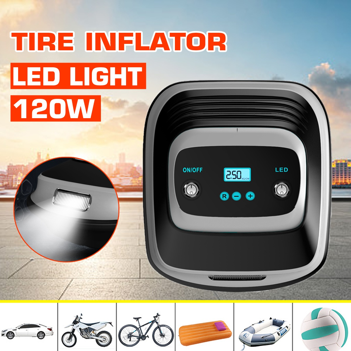 120W DC 12V Car Portable Air Compressor LED Light Tire Pump Digital LCD Display Tire Inflator Auto Air Pump For Car Motorcycle