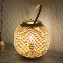 Southeast Asian Hand Woven Bamboo Basket Shaped Table Lamp Restaurant Bedroom Balcony Desk Lamp(China)
