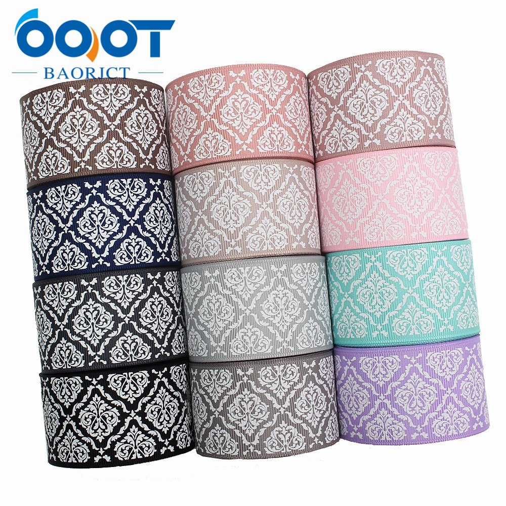 OOOT BAORJCT I-191214-2767,10yards 38mm,Colorful Geometric Printed Grosgrain Ribbons,Clothing Bow Cap DIY Decorations Materials
