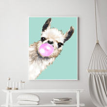 Art Canvas Painting Animal Print Peekaboo Alpaca Posters and Prints Cartoon Bubble Blade Wall Picture For Baby Kids Room baby touch peekaboo
