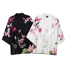 2020 Harajuku Kimono Cosplay japoński chiński styl moda uliczna mężczyzna i kobieta sweter bluzka Top Haori Obi azjatyckie ubrania tanie tanio WOMEN Poliester Trzy czwarte Fashion street Kimono blouse Kimono shirts neutral men and women