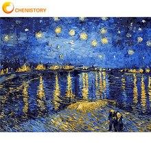 CHENISTORY bezramowe pejzaż ręcznie malowany obrazek według numerów nowoczesne ściany płótno artystyczne farba akrylowa do wystroju domu 40x50cm sztuki