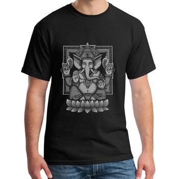 Fitness Ganesh White Halftone t-shirt for men 100% cotton Humor streetwear mens t shirt tee Classical Outfit