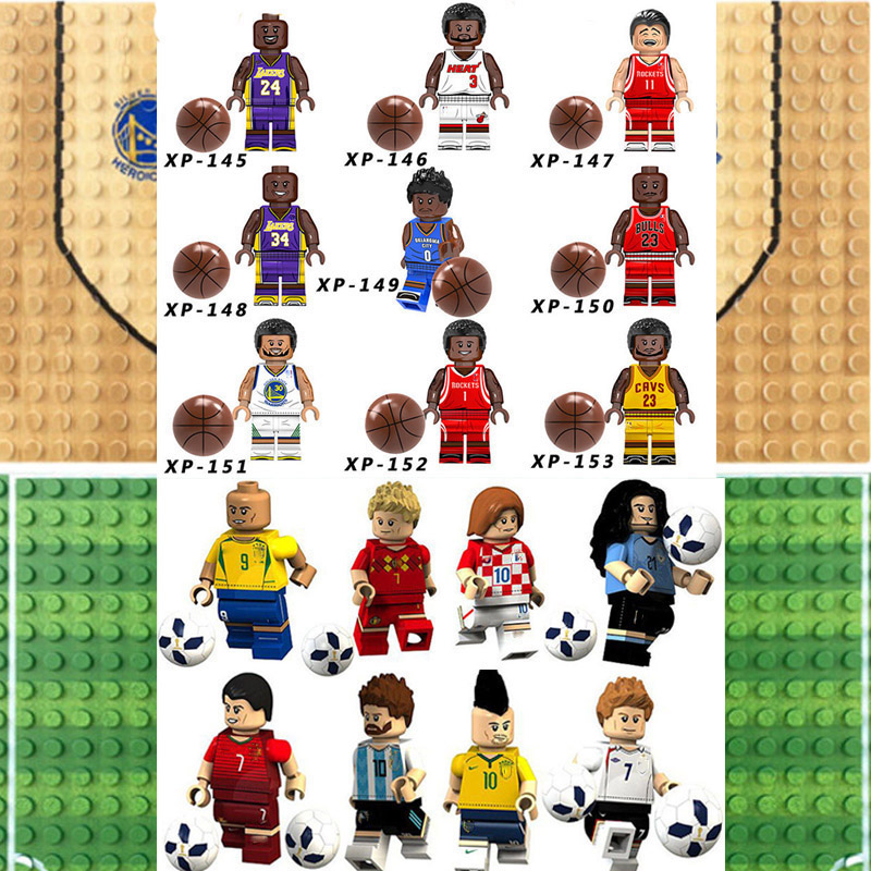 Legoinglys Basketball Football Player Figures Kobe Bryant Curry Odel Beckham Ronaldo Building Blocks Brick Toy Gifts