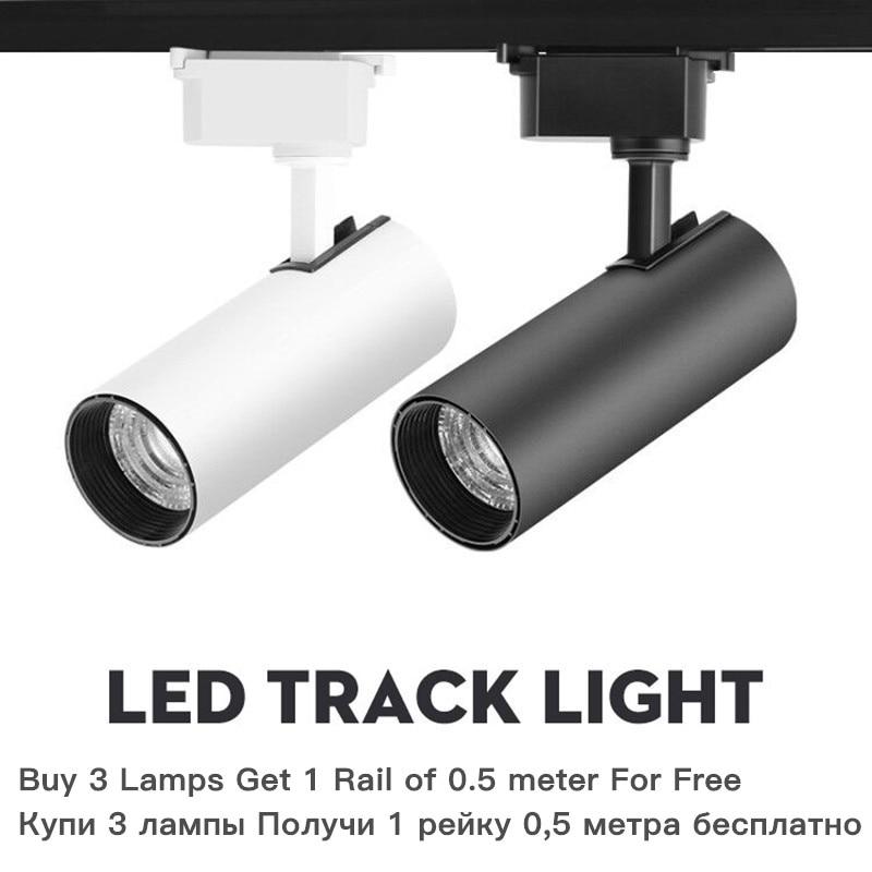 220V LED Track Lights Fixture 12W 20W 30W 40W COB Track Light Lamp Spot Rail Light Ceiling Spotlights Living Room Store Lighting