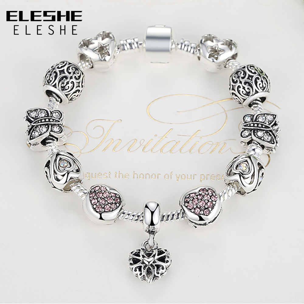 Eleshe 925 Perak Pesona Gelang Gelang untuk Wanita Kristal Cinta Hati Manik Fit Merek Gelang Perhiasan Pulseras Mujer