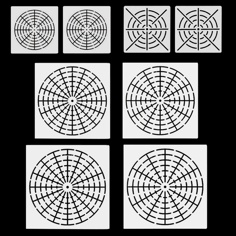 8PCS Reusable Mylar Mandala Dotting Painting  Stencils Templates Tools For DIY Craft Furniture Wood Canvas Rocks Fabric Wall Art
