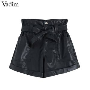 Image 1 - Vadim women pu leather black shorts zipper fly elastic waist pockets female casual shorts bow tie sashes pantalones cortos SA190