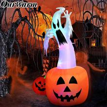 OurWarm 6ft Halloween Inflatable Ghost Pumpkin with Color Changing LEDs Outdoor Scary Inflatables Blow Up Ghost for Halloween ourwarm 180cm halloween decorations inflatable ghost pumpkin outdoor terror scary props inflatable toy haunted house supplies