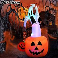 OurWarm 6ft Halloween Inflatable Ghost Pumpkin with Color Changing LEDs Outdoor Scary Inflatables Blow Up Ghost for Halloween
