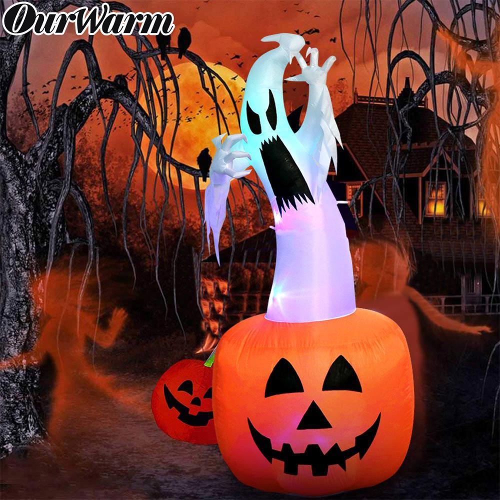 OurWarm 6ft Inflável Do Dia Das Bruxas Abóbora Fantasma com a Mudança da Cor LEDs Ao Ar Livre Infláveis Explodir Fantasma Assustador para o Dia Das Bruxas