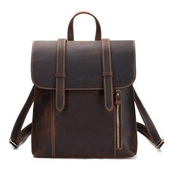 The New Bag Genuine Leather Vintage Feng Ma Pi Men's Shoulder Bag Header Level Leather Backpack Leather Travel Backpack Leather