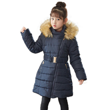 Winter Hooded Fur Collar Parka Coats For Girls 2019  Winter Baby Girls Clothes Clothes Kids Cotton Padded Jackets For Girls reima jackets 8689577 for girls polyester winter fur clothes girl