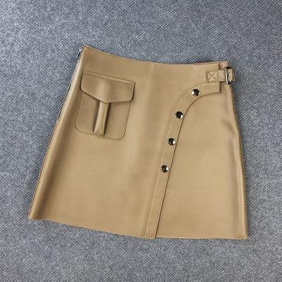 2020 Women Spring Genuine Real Sheep Leather Skirt E23