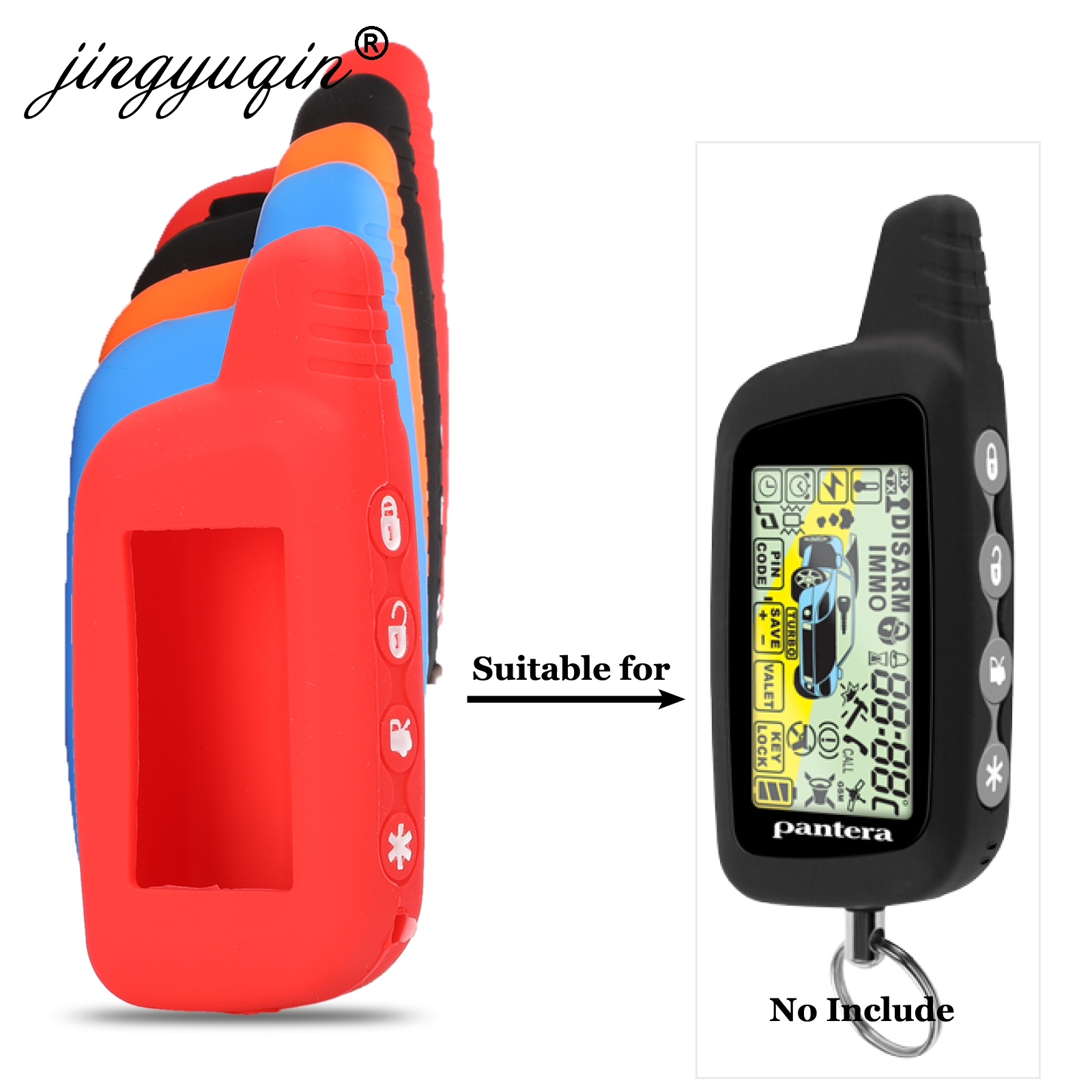 Silicone Case For Pantera SLK 300 350 400 450 600RS 625RS 650RS 675RS 775RS 2 Way Car Alarm LCD Keychain Remote Control Cover Key Case for Car     - title=