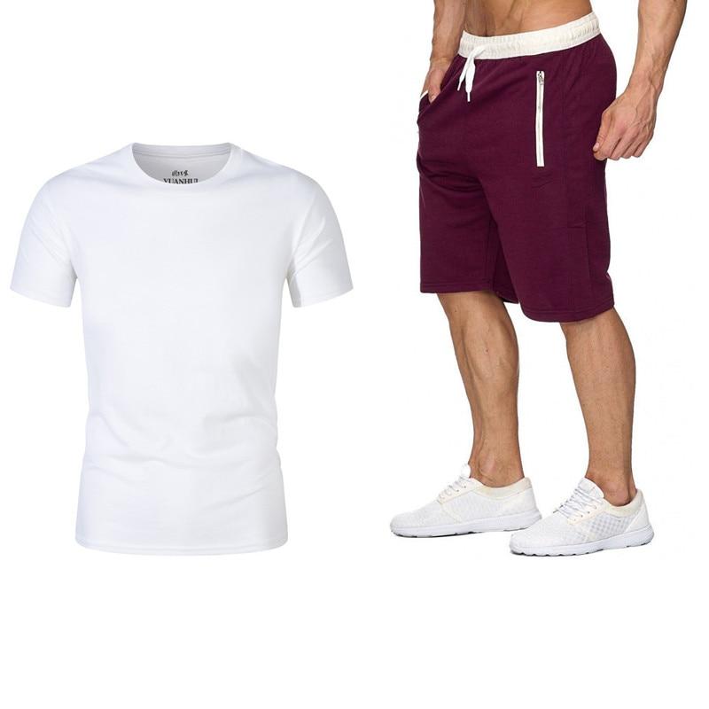 Casual Men's Suits Summer Sportswear Men's 2-piece T-shirt + Shorts Fashion Sportswear Jogging Track Suits 2020 Casual Men's Clo