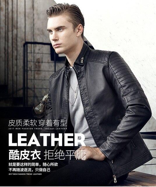 Hommes veste en cuir PU 2020 automne nouveaux hommes décontracté mode col montant mince veste en cuir couleur unie veste en cuir hommes