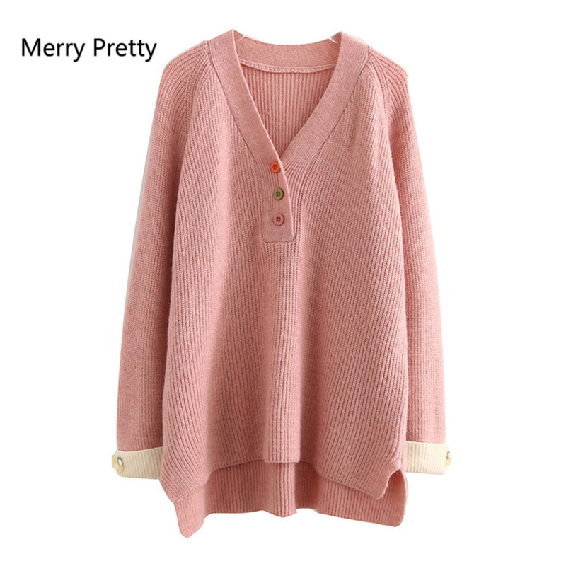 Merry Pretty 2020 Spring New Korean Sweater Flat Knitted Button V-Neck Women Sweaters And Pullovers Oversized Casual Sweaters