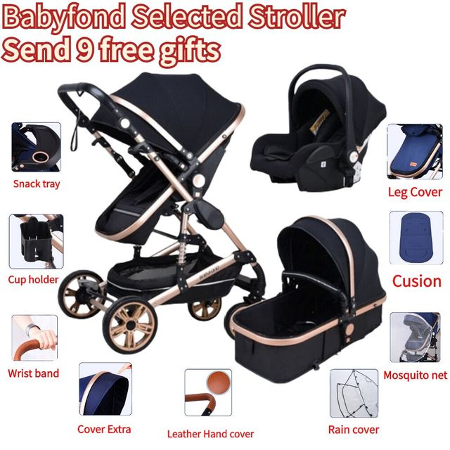Babyfond Stroller High Landscape Baby Stroller 3 in 1 With Car Seat  Folding Baby Carriage for 0-3 Years Two Way Newborn Pram 2