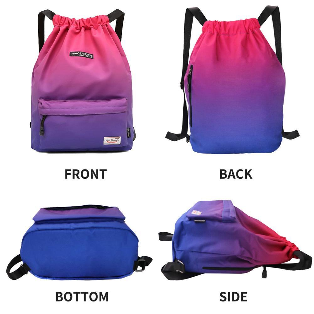 Waterproof Gym Bag Women Girls Sports Bag Travel Drawstring Bag Outdoor Bag Back