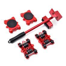 5 peças de transporte levantador de materiais pesados móveis móveis movente ferramenta 4 rodas rolo com barra roda conjunto dispositivo profissional