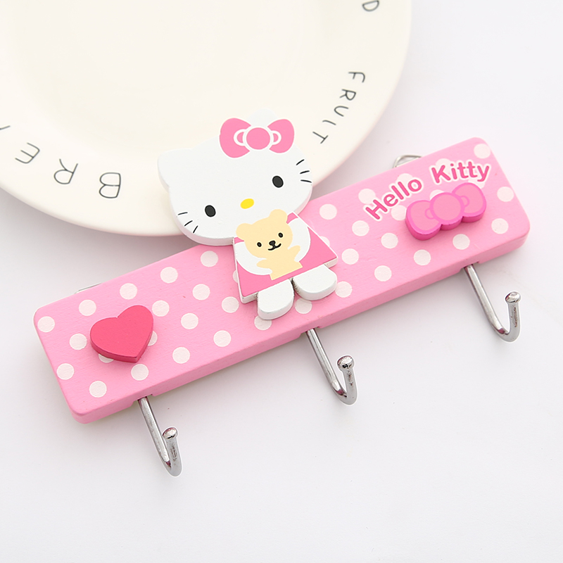 Cute Cartoon Hello Kitty Cat Hook Behind The Door Strong Glue Hanger Hole Free Kitchen Wall Hook Home Decoration Accessories