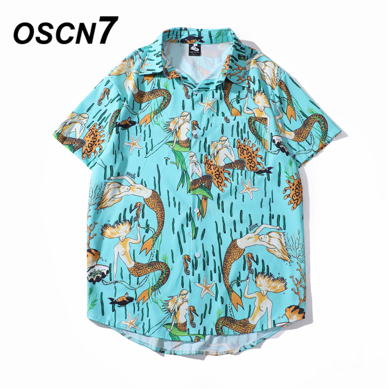 OSCN7 Casual Cloud Printed Short Sleeve Shirt Men Street 2020 Hawaii Beach Oversize Women Fashion Harujuku Shirts For Men 202