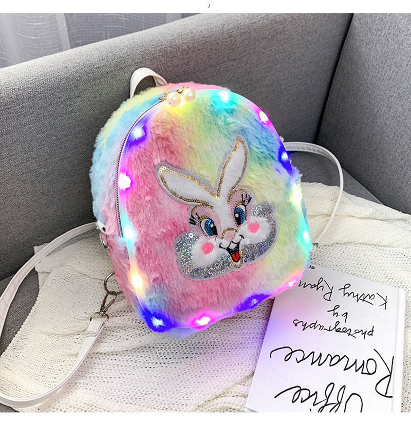 Girls Plush Unicorn Backpack Teenage Rabbit Pretty Schoolbags Women Little Backpack Travel Bunny Unicorn Shoulder Bag Easter Git