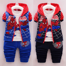 Boys' Clothing Autumn Long Sleeve Suit 0-3years Old4 Long Sleeve Baby Children Spring Cartoon Hoods Three Piece Set for Children